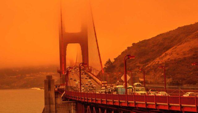 hazy hot day golden gate bridge